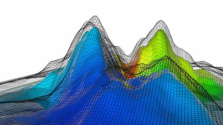 three-dimensional plane of iridescent color. 3d render Banco de Imagens - 123004026