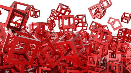 red hollow cubes. Three-dimensional illustration. 3d render Banco de Imagens - 123001017