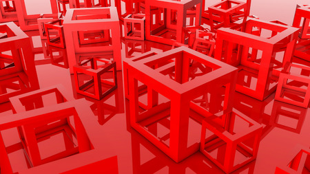 red hollow cubes. Three-dimensional illustration. 3d render 写真素材