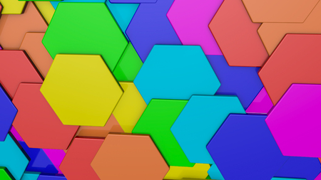 background from multicolored hexagons. Abstract rainbow illustration. 3d render Stock Photo