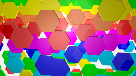 background from multicolored hexagons. Abstract rainbow illustration. 3d render Banco de Imagens