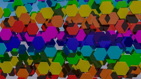 background from multicolored hexagons. Abstract rainbow illustration. 3d render Imagens