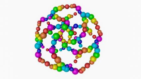 background from multi-colored spheres. Abstract rainbow illustration. 3d render