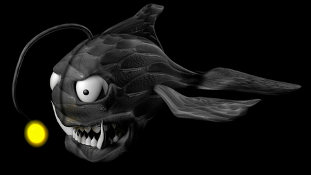 3d model of angler fish. 3d render