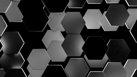 background of dark 3d hexagons. 3d render