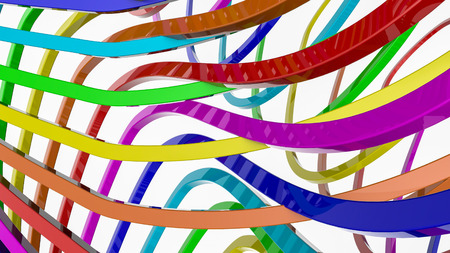 background from multi-colored stripes. Abstract rainbow illustration. 3d render