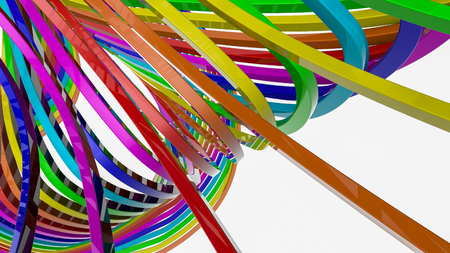 background from multi-colored stripes. Abstract rainbow illustration. 3d render Stock Illustration - 126423997