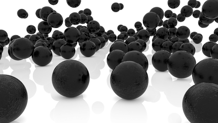 three-dimensional dark spheres on white surface. 3d render Imagens
