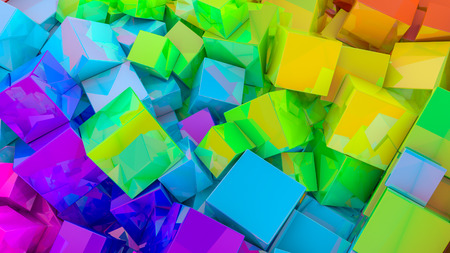 Abstract rainbow background from cubes. 3d render