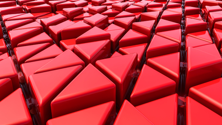 Abstract red three-dimensional background. 3d render illustration