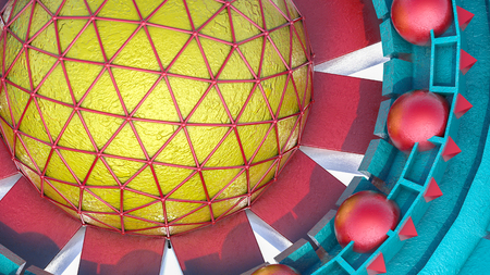 Abstract futuristic three-dimensional background of different 3d shapes. 3d render illustration