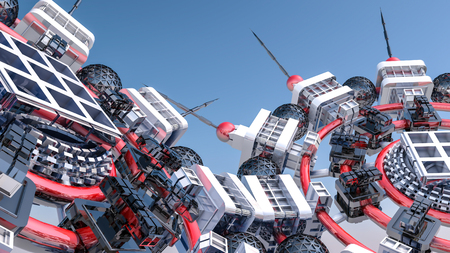 Abstract futuristic three-dimensional background of different 3d shapes. 3d render Stok Fotoğraf