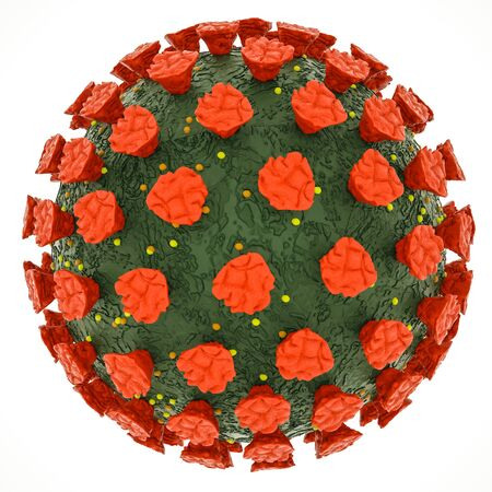 three-dimensional stylized coronavirus model on a white background. coronavirus pandemic concept. 3d render illustration. isolate