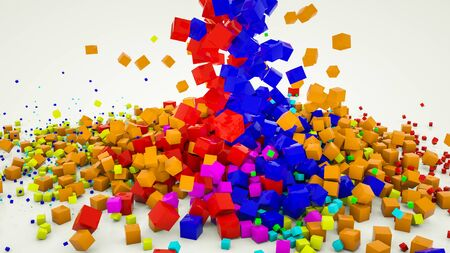 multicolored three-dimensional cubes scattered on a white background. 3d render illustration Imagens