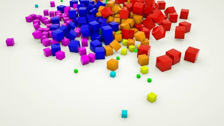multicolored three-dimensional cubes scattered on a white background. 3d render illustration Archivio Fotografico