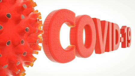 three-dimensional model of the virus and the word covid-19 on a white background. coronavirus pandemic concept. 3d render illustration