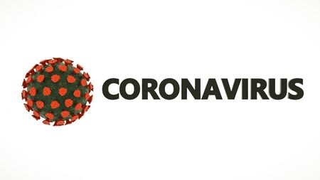 stylized virus model and the word coronavirus on a white background. coronavirus pandemic concept. 3d render illustration
