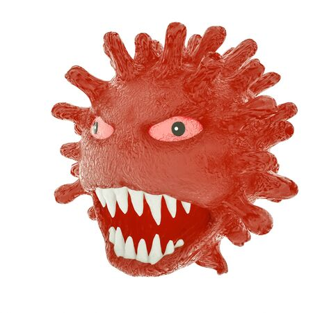 stylized virus model with eyes and mouth on a white background. coronavirus pandemic concept. 3d render illustration