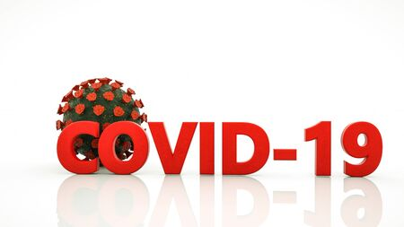 stylized virus model and the word covid-19 on a white background. coronavirus pandemic concept. 3d render illustration