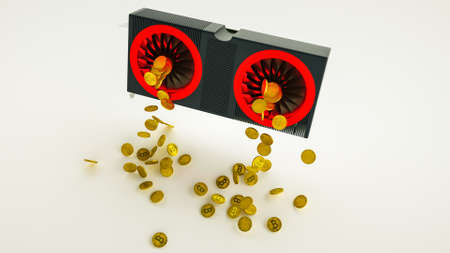 Gold coins with bitcoin symbol are pouring out of a 3D model of a video card on white