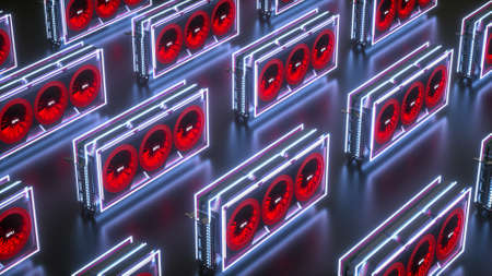 Several three-dimensional video cards in neon light on black Imagens
