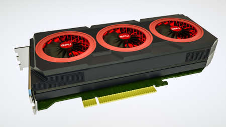 Three-dimensional model of a video card on white