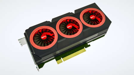 Three-dimensional model of a video card on white Imagens - 166541355