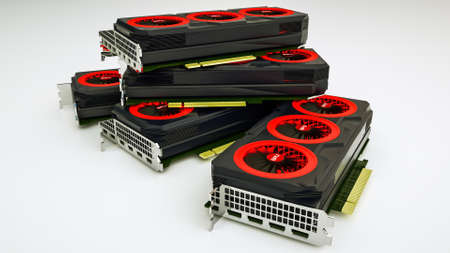 Several three-dimensional video cards lie on white