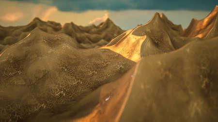 three-dimensional stylized landscape at sunset. 3d render illustration