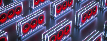 several three-dimensional video cards in neon light on a black background. mining farm concept. 3d render illustration