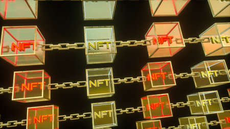 three-dimensional transparent cubes with the word nft connected by a chain on a dark background. concept block chain and crypto art. 3d render illustration