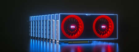 several video cards highlighted with blue neon light on a black background. crypto farm concept. mining cryptocurrency. 3d render illustration