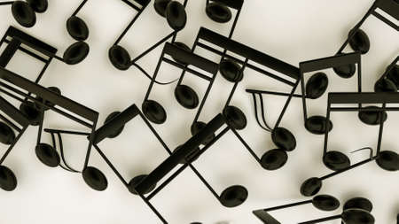 three-dimensional notes are scattered on a white background. musical concept. 3d render illustration