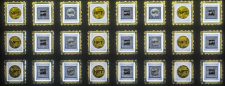 picture gallery with paintings with NFT inscriptions hanging on the wall. cryptoart concept. 3d render illustration