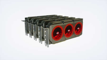 several modern video cards in a row on a white background. crypto mining concept. 3d render illustration