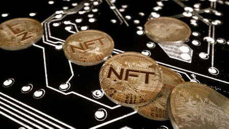 three-dimensional silver coin with the inscription nft on a black background. crypto art concept. 3d render illustration