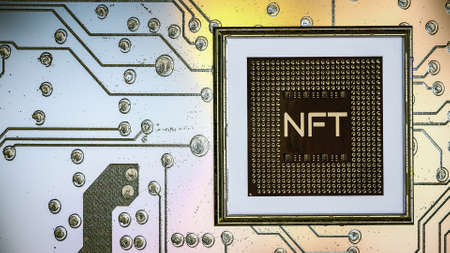 picture with the inscription nft in a baguette on the background of a printed circuit board. crypto art concept. 3d render illustration Imagens