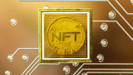 picture with a gold coin with the inscription nft in a baguette on the background of a printed circuit board. crypto art concept. 3d render illustration Imagens - 166361199