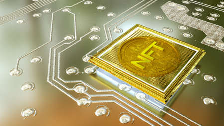 picture with a gold coin with the inscription nft in a baguette on the background of a printed circuit board. crypto art concept. 3d render illustration Foto de archivo - 166360699
