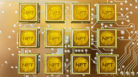 picture with a gold coin with the inscription nft in a baguette on the background of a printed circuit board. crypto art concept. 3d render illustration Imagens - 166360957