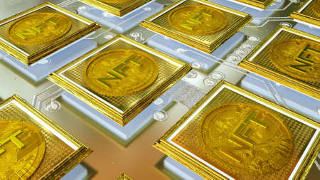 picture with a gold coin with the inscription nft in a baguette on the background of a printed circuit board. crypto art concept. 3d render illustration Imagens - 166360715