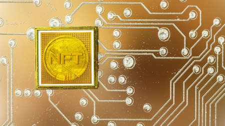 picture with a gold coin with the inscription nft in a baguette on the background of a printed circuit board. crypto art concept. 3d render illustration Imagens