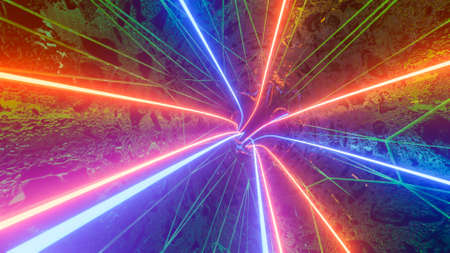 inside an abstract 3D tunnel with neon stripes. colorful background. 3d render illustration Archivio Fotografico