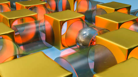 a silvery sphere with a rough texture rolls through pipes connected to each other. abstract three-dimensional composition. 3d render illustration