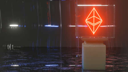 dark background with a column and a glowing ethereum sign in a glass showcase. cryptocurrency concept. 3d render illustration