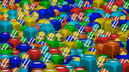 abstract background from rows of three-dimensional spheres and stylized jugs for them. 3d render illustration Archivio Fotografico