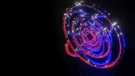 background of several three-dimensional rings with a luminous texture on dark. abstract three-dimensional composition. 3d render illustration Archivio Fotografico