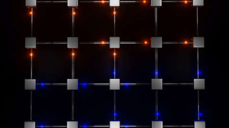 glowing red and blue spheres fly through transparent pipes connected in squares. abstract three-dimensional composition. 3d render illustration Archivio Fotografico