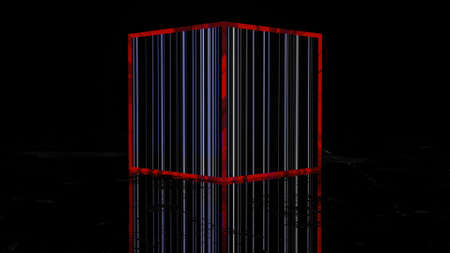 a dark cube with glowing white stripes and a red frame on a dark background. abstract three-dimensional composition. 3d render illustration Archivio Fotografico