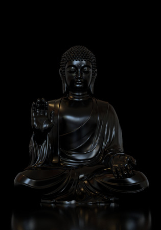 3D render of a black Buddha statue in lotus pose on a white background Stockfoto